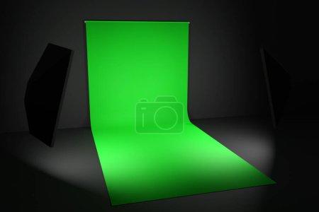 Photo pour Rendu 3D Photostudio avec équipement studio : fond vert pour la photographie, flashs studio, déflecteurs, Octoboxes - image libre de droit