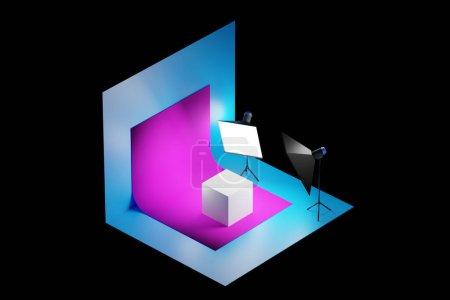 Photo pour Rendu 3D Photostudio avec équipement studio : fond rose pour la photographie, flash studio, déflecteurs, octoboxes. Sujet photographie d'un cube blanc dans un studio photo - image libre de droit