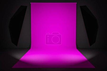 Photo pour Rendu 3D Photostudio avec équipement studio : fond rose pour la photographie, flashs studio, déflecteurs, Octoboxes - image libre de droit