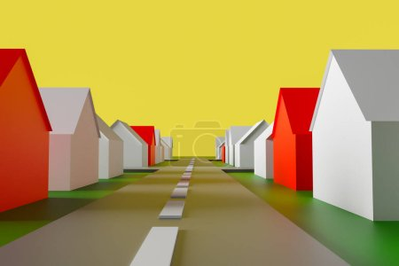 Photo for 3D illustration abstract representation of the village. Small typical white and red rural houses stand along a highway. The concept of the same, similar to each other life in homes. - Royalty Free Image