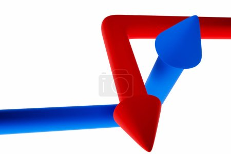 Photo for 3D illustration of the different blue  and blue arrows icons. Arrows showing movement on top of each other. Resistance concept.   Abstract elements for business infographi - Royalty Free Image