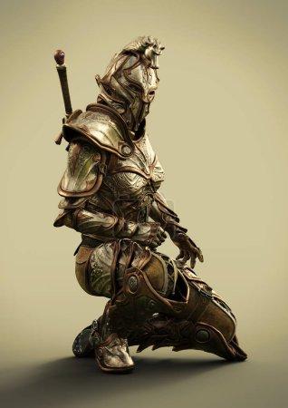 Photo pour Profil latéral d'un chevalier ornemental entièrement blindé femelle. rendu 3D - image libre de droit