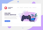 Online game internet service banner poster website page interface concept Vector flat graphic design cartoon illustration