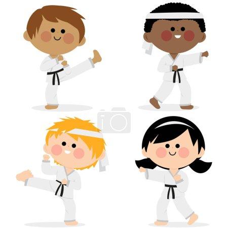 Illustration pour Groupe d'enfants vêtus d'uniformes d'arts martiaux: karaté, Taekwondo, judo, jujitsu, kick-boxing ou kung fu costumes. - image libre de droit