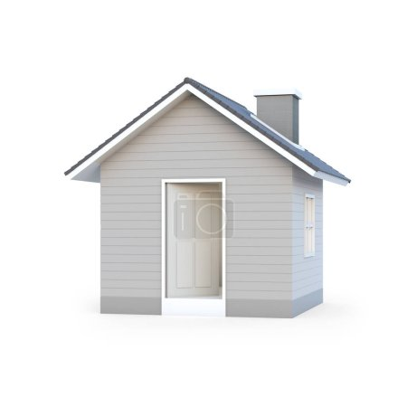 Photo for Minimal simple house isolated on white background with clipping path. House 3d rendering. - Royalty Free Image