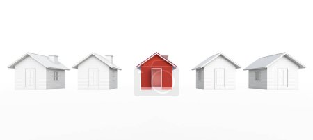 Photo for Red house in real estate property image and housing development or community. Isolated on white background with clipping path. House 3d rendering. - Royalty Free Image