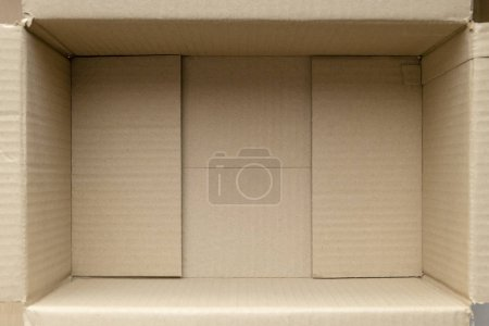 Photo for Empty cardboard box. Close up inside view of cardboard packaging box - Image - Royalty Free Image