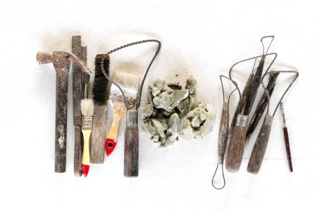 Photo for Sculpture tools set background. Art and craft tools on white background. - Royalty Free Image