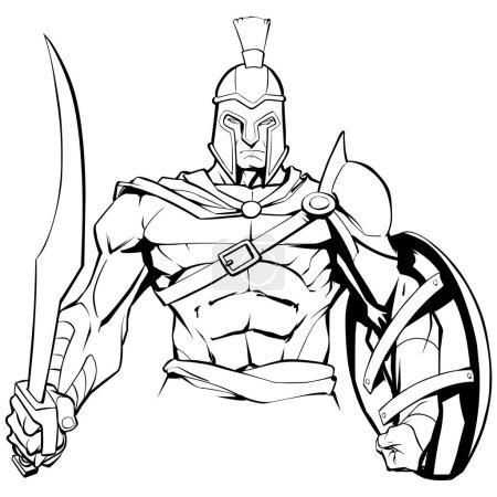 Line art illustration of Spartan warrior holding s...
