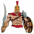 Illustration of Spartan warrior holding sword and ...