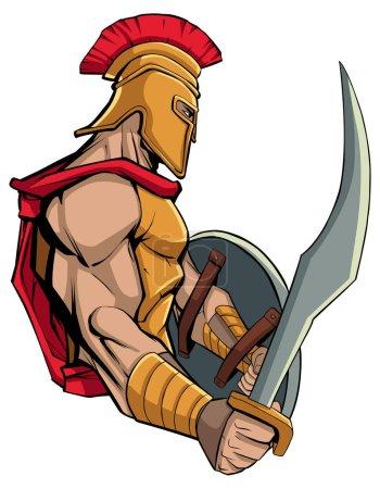 Mascot illustration of Spartan warrior holding swo...