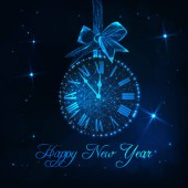 Happy New Year greeting card template with roman numeral clock as a christmas ball with hanging ribbon bow and text Countdown time to New Year Futuristic low polygonal design vector illustration