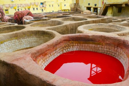 Painting the leather in Fez, the ancient tanneries in the heart of medina