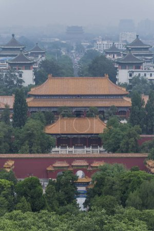 Aerial view of forbidden city in China at daytime