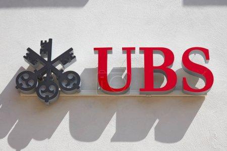 SANKT MORITZ, SWITZERLAND - AUGUST 16, 2018: UBS s...