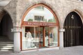 SANKT MORITZ, SWITZERLAND - AUGUST 16, 2018: Brunello Cucinelli luxury store in a sunny summer day in Sankt Moritz, Switzerland