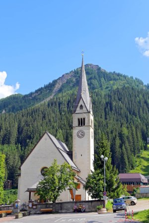 View at the church of Arabba village - Italy Dolom...