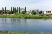PLOVDIV, BULGARIA - MAY 7, 2018: The Maritsa River, passing through the city of Plovdiv, Bulgaria
