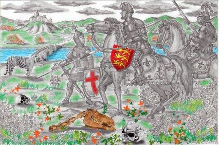 трое рыцарей крестоносцев рядом с