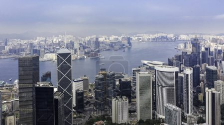 Photo for Aerial view of cityscape with buildings and river in Hong Kong - Royalty Free Image