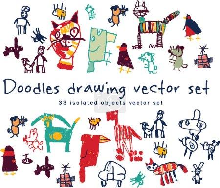 Drawing doodles set . Color vector illustration....