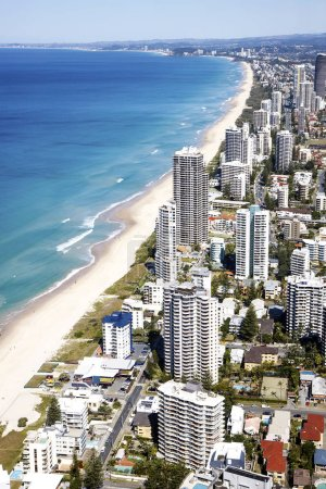 GOLD COAST, AUSTRALIA - AUGUST 23, 2013: Aerial view of the famed Gold Coast in Queensland Australia looking from Surfers Paradise down to Coolangatta