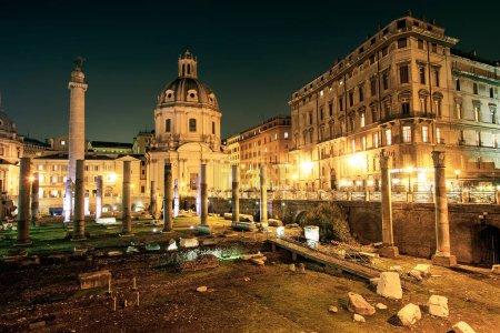 Imperial Forum Traian Column and Chiesa del Santissimo Nome di Maria, Rome, Italy