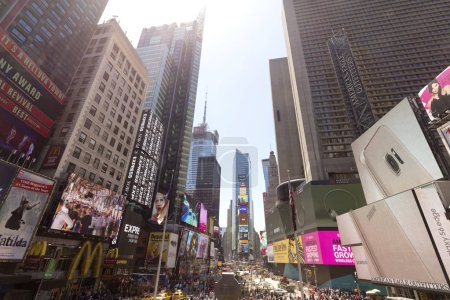 NEW YORK CITY, USA - MAY 24TH, 2015: Times Square, featured with Broadway Theaters and animated LED signs, is a symbol of New York City and the United States