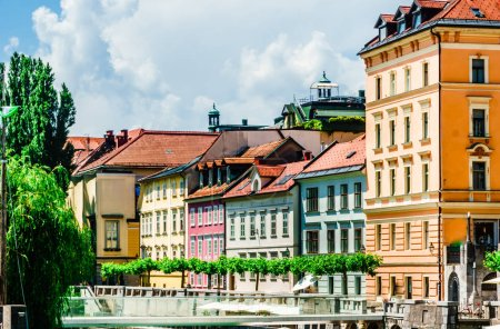 Photo for View on colorful historic buildings in the old town of Ljubljana - Slovenia - Royalty Free Image