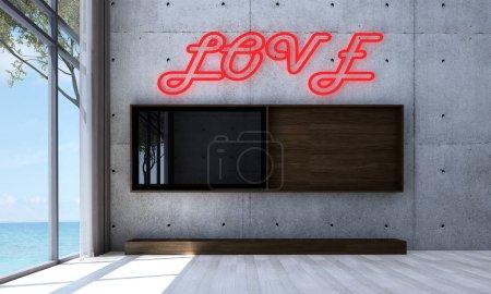Photo pour La conception intérieure du salon moderne et Lcd tv et fond de modèle de mur en béton - image libre de droit
