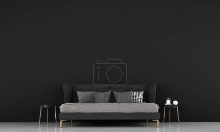 Foto de El diseño interior de dormitorio minimalista y fondo de pared de textura negra - Imagen libre de derechos