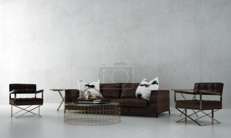 Photo for Modern minimal interior design of living room and concrete wall and sea view background - Royalty Free Image