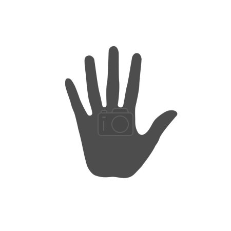 Flat of the hand illustration. Open adult palm icon