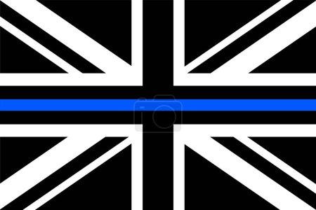 Illustration pour Royaume-Uni drapeau avec une mince ligne bleue - un signe pour honorer et respecter la police britannique, l'armée et les officiers militaires . - image libre de droit