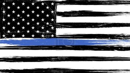 Illustration pour Grunge USA drapeau d'une ligne bleue mince - un signe pour honorer et respecter la police américaine, l'armée et les officiers militaires . - image libre de droit