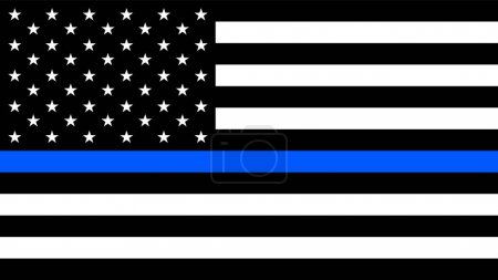 Illustration pour Drapeau des États-Unis avec une mince ligne bleue - un signe pour honorer et respecter la police américaine, l'armée et les officiers militaires . - image libre de droit