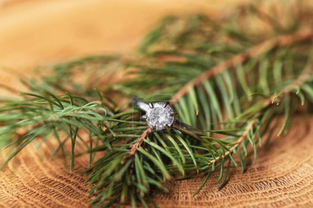Engagement ring and pine branch on wooden background, closeup