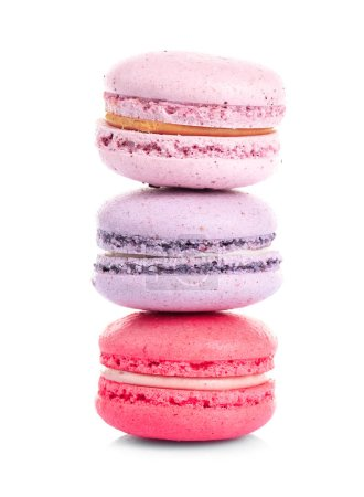 Photo for Tower of colorful tasty macaroons on white background - Royalty Free Image