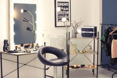 Interior of light modern makeup room