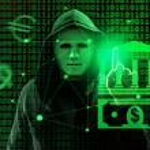 Hacker working with virtual screen against dark ba...