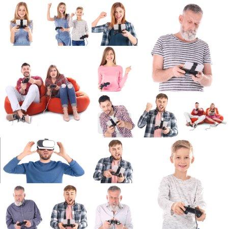 Foto de Personas de diferentes edades, juegos de video sobre fondo blanco. Ocio y entretenimiento - Imagen libre de derechos