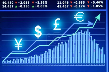 Stock exchange graphs and rates with currency symbols on color background. Financial trading concept