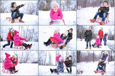 Foto de Conjunto con personas felices en el Parque cubierto de nieve en vacaciones de invierno - Imagen libre de derechos