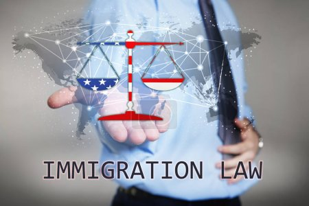Text IMMIGRATION LAW with man holding virtual world map and scales of justice on light background