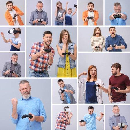Foto de Personas de diferentes edades jugando videojuegos sobre fondo gris. Ocio y entretenimiento - Imagen libre de derechos