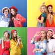Collage with hipster girls on color background. Be...