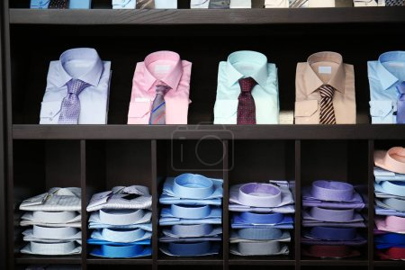 Photo for Assortment of classic shirts at menswear store - Royalty Free Image