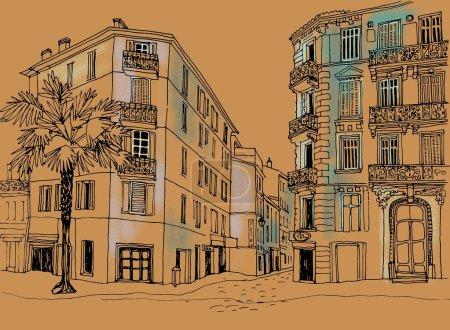 Foto de Calle de la ciudad vieja en estilo de boceto de línea dibujada a mano. Ilustración colorida. Cannes. Provenza. En Francia. Bonita ciudad europea. Paisaje urbano sobre fondo artesanal - Imagen libre de derechos