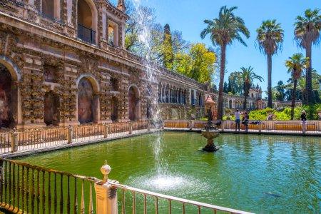 Photo pour Vue de la Galeria de Grutesco du Real Alcazar le Palais Royal Sevilla Espagne . - image libre de droit