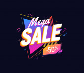 Mega sale on bright triangles background 90s retro style design element Isolated vector illustration